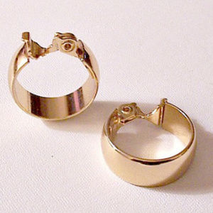 Monet Wedding Band Gold Hoop Clip On Earrings